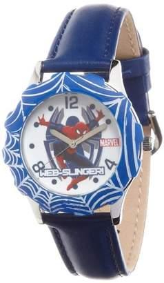 EWatchFactory Marvel Kids' W000315 Marvel Tween Spider-Man Stainless Steel Blue Bezel Blue Leather Strap Watch