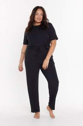 Nasty Gal Womens Ms T-Shirt & Jogger Set - Black - 22