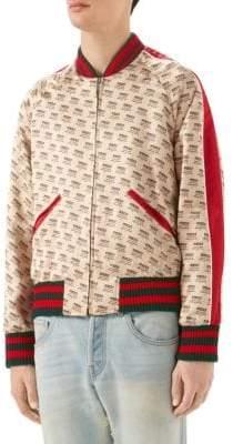 Gucci Logo Invite Stamp Silk Bomber Jacket