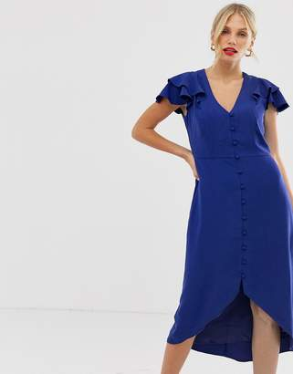 Oasis tea dress with ruffles in blue