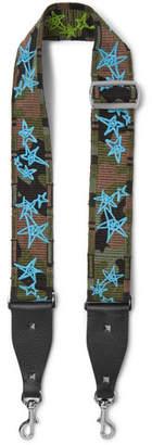 Valentino Guitar Rockstud Leather-trimmed Embroidered Canvas Bag Strap