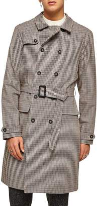 Topman Houndstooth Trench Coat