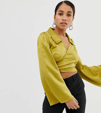 4b84520cb570e6 Fashion Union Petite satin wrap blouse