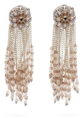 Oscar de la Renta Fringed Beaded Clip Earrings - Womens - Silver