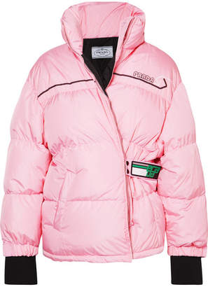 Prada Printed Quilted Shell Down Jacket - Pink