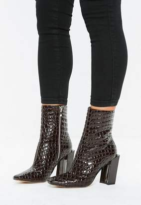 Missguided Brown Feature Heel Ankle Boots