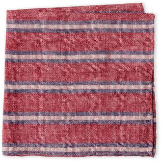 Brunello Cucinelli Red & Blue Linen Pocket Square