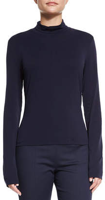 St. John Mock-Neck Fine Jersey Top