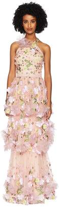 Marchesa Halter Multicolored 3D Floral Embroidered Tiered Gown with Trims Women's Dress