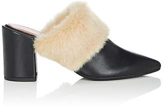 Barneys New York WOMEN'S FAUX-FUR-TRIMMED LEATHER MULES