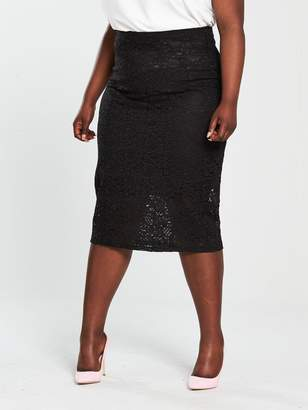 V by Very Curve Lace Pencil Skirt - Black