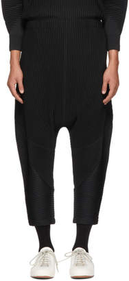 Issey Miyake Homme Plisse Black Curved Pleats Trousers