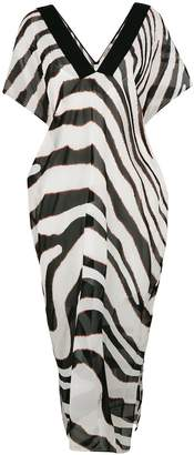 Roberto Cavalli zebra print beach dress