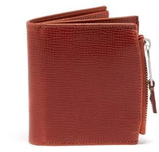 Maison Margiela Label Tab Grained Leather Bi Fold Wallet - Mens - Brown