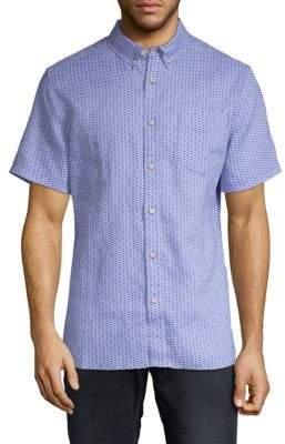 Printed Linen Button-Down Shirt