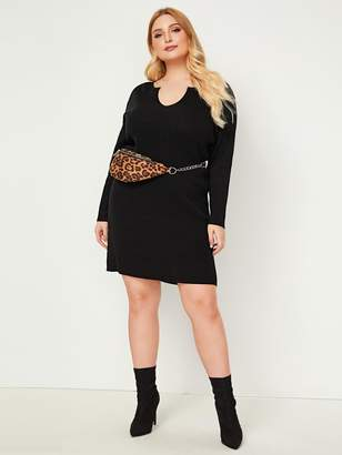 Shein Plus Notched Collar Sweater Dress Without Bag
