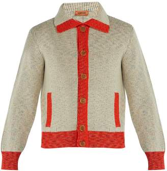 Missoni Contrast-trim ribbed-knit wool cardigan