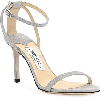 Jimmy Choo Minny Glittered Ankle-Strap Sandals