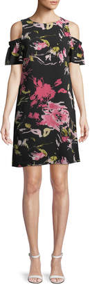 Tahari ASL Cold-Shoulder Floral Shift Dress