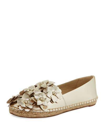 Tory BurchTory Burch Blossom Leather Espadrille Flat, Gold