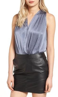 Women's Leith Textured Satin Wrap Front Bodysuit $55 thestylecure.com