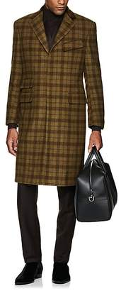 Cifonelli Men's Velvet-Trimmed Plaid Wool Overcoat