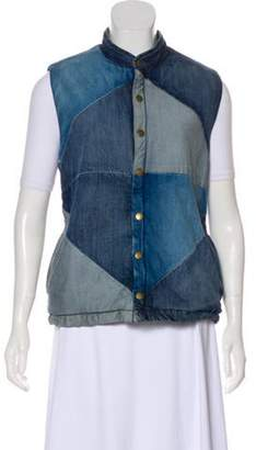 Current/Elliott Denim Puffer Vest blue Denim Puffer Vest