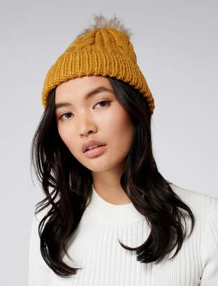 Forever New Cassie Cable Pom Beanie - Ochre - 00