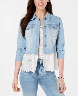 Style&Co. Style & Co Peplum-Hem Denim Jacket