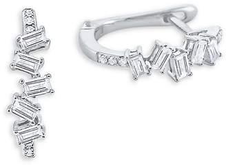 KC Designs Women's Mosaic Baguette Diamond and 14K White Gold Hoop Earrings