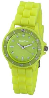 Newave nwh218fj-Unisex Watch-Analogue Quartz-Yellow Dial-Silicone Wristband Multi-Coloured