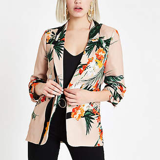 River Island Light pink tropical ruched sleeve blazer