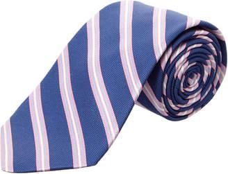 Ike Behar Navy & Pink Stripe Silk Tie