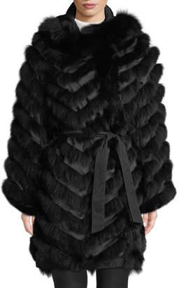 Belle Fare Reversible Silk & Fox Fur Chevron Jacket