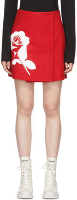 MSGM Red Stamped Rose Skirt