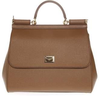 Dolce & Gabbana Miss Sicily Caramel Dauphine Leather Bag
