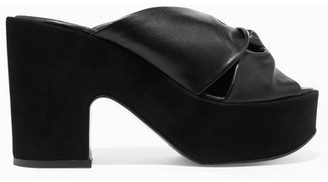 Robert Clergerie - Esther Knotted Leather And Suede Platform Mules - IT41 $595 thestylecure.com