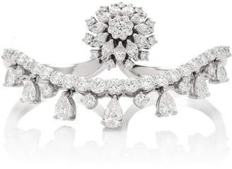 Yeprem 18K White Gold Diamond Double Finger Spiral Ring
