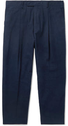 Haider Ackermann Tapered Cropped Cotton-Twill Trousers - Navy