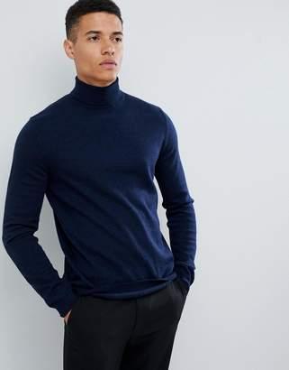 Asos Design DESIGN merino wool roll neck jumper in navy