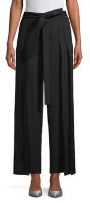 Saint Laurent Tie-Waist High-Rise Wide-Leg Pants