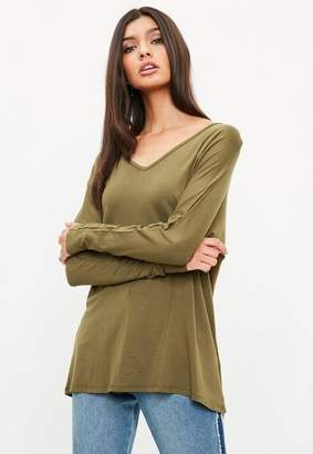 Missguided Khaki Deep Plunge Tunic Top