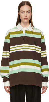Acne Studios Brown and Green Striped Face Polo