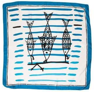 Prada Watercolor Print Silk Scarf