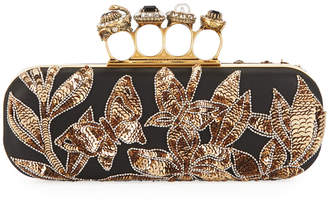 Alexander McQueen Jeweled Four-Ring Art Nouveau Sequin Box Clutch Bag