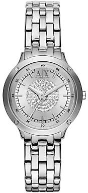 Armani Exchange AX5415 Women's Crystal Bracelet Strap Watch, Silver