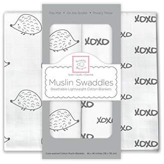 Swaddle Designs X-Large Cotton Muslin Swaddle Blankets, Hogs and Kisses, Black, Set of 2
