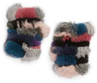 Jocelyn Mandy Genuine Rabbit Fur Open Top Mittens