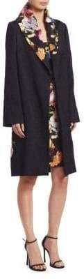 Naeem Khan Long-Sleeve Floral-Print Trench Coat