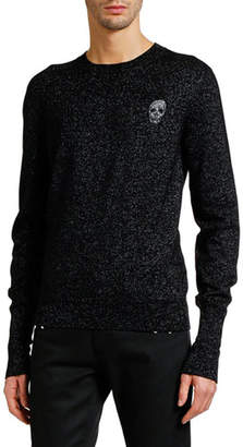 Alexander McQueen Men's Metallic Crewneck Sweater with Skull Detail